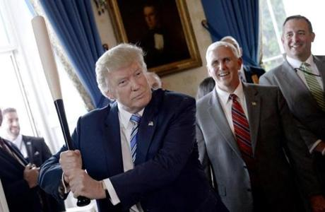 "President Donald Trump swung a Marucci baseball bat in the Blue Room during a ""Made in America"" product showcase."